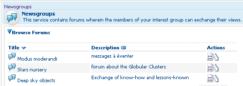 The Newsgroups administrators can see the command 'create forum'