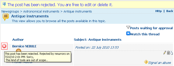 The moderator has given a reason for refusal. This appears to the author, with other relevant information, in a tooltip